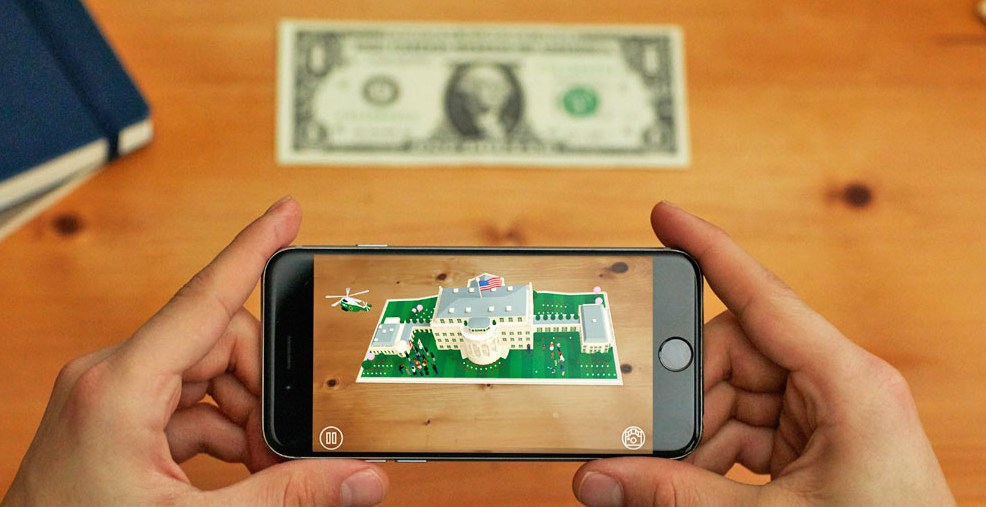 View the White House in AR using just a one dollar bill